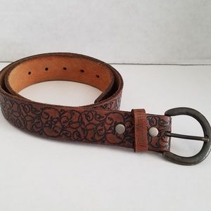 REI Accessories - REI : Tooled Brown Leather Boho Belt - Small